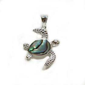 Abalone Sea Turtle Pendant in Sterling Silver