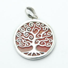 Red Coral Tree of Life Pendant Set  in Sterling Silver