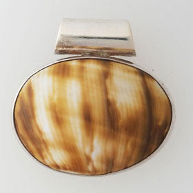 Shell Oval Shaped Sterling Silver Pendant