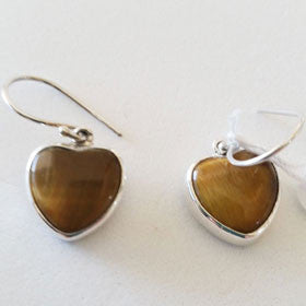 Tiger Eye Heart Sterling Silver Earrings