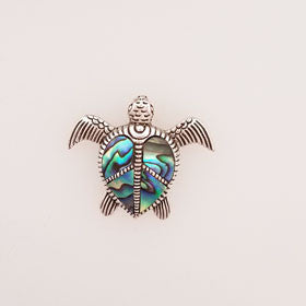 "Abalone ""Peace"" Turtle Pendant Set in Sterling Silver"