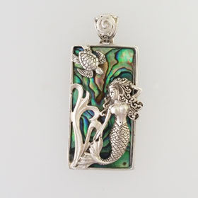 Abalone Rectangle Mermaid & Turtle Pendant Set in Sterling Silver