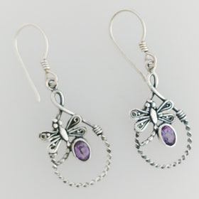 Amethyst Dragonfly Rope Earrings set in Sterling Silver