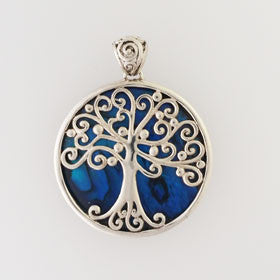 Abalone Tree of Life Blue Pendant Set in Sterling Silver