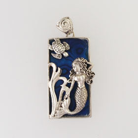 Abalone Rectangle Mermaid & Turtle Blue Pendant Set in Sterling Silver