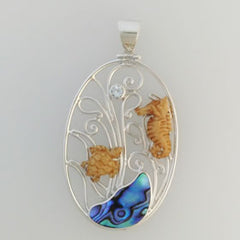 Abalone & Bone Turtle and Seahorse Pendant Set in Sterling Silver