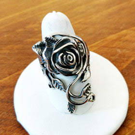 Sterling Silver Rose Vine Ring Large
