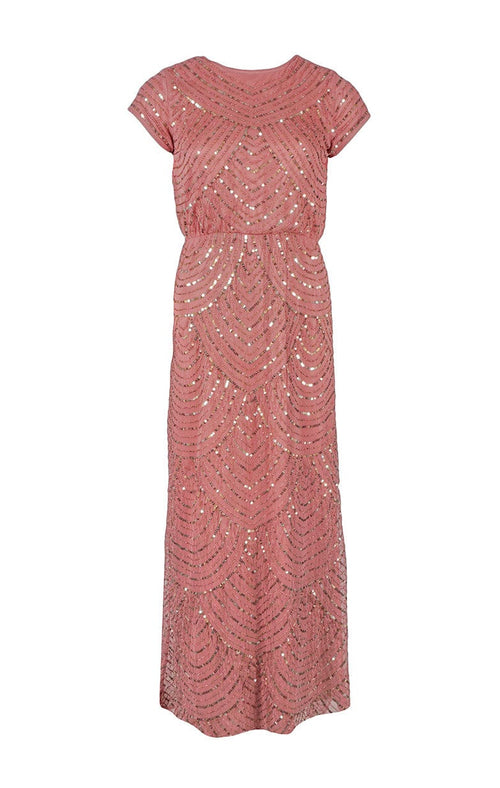 Pink sparkle dress, long dress, pink dress, LORIS BEADED CAP DRESS YAS