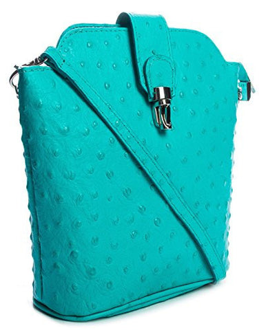 Big Handbag Shop Womens Real Leather Mini Cross Body Ostrich Messenger Bag (V122Flap Turquoise)