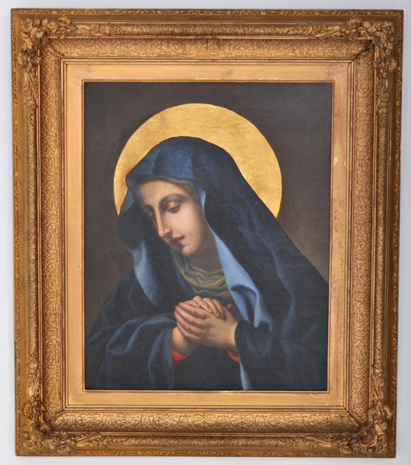 Antique 18th Century Italian Baroque Oil on Canvas of the Madonna, Circa 1720