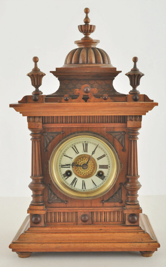 "Antique German Wertenberg ""Greenwich"" 8-Day Time and Strike Mantle Clock Retailed by W. E. Watts of Nottingham, Circa 1880"