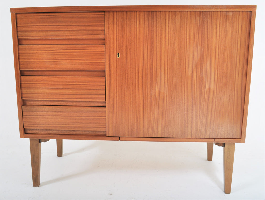 Mid-Century Modern Sewing Machine in Teak Cabinet by Bernina