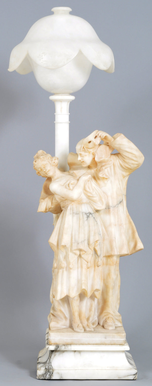Monumental Antique Art Nouveau Italian Marble and Alabaster Statue Lamp, Circa 1900