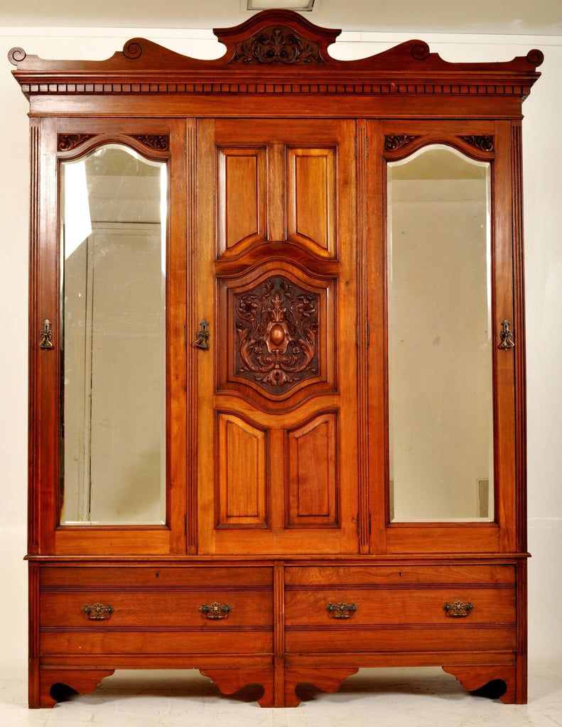Antique English Satin Walnut Armoire/Wardrobe/Compactum, Circa 1880