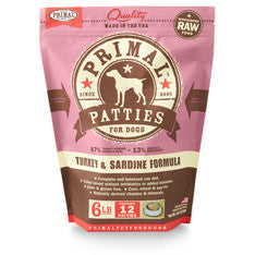 Primal - Turkey & Sardine Patties - Raw Dog Food - 6 lb (Local Tampa Bay Delivery Only)