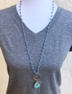 Blue Beaded Chain & Green Druzy Pendant Necklace