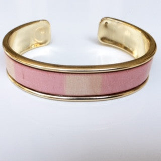 Pink/White Striped Leather Cuff