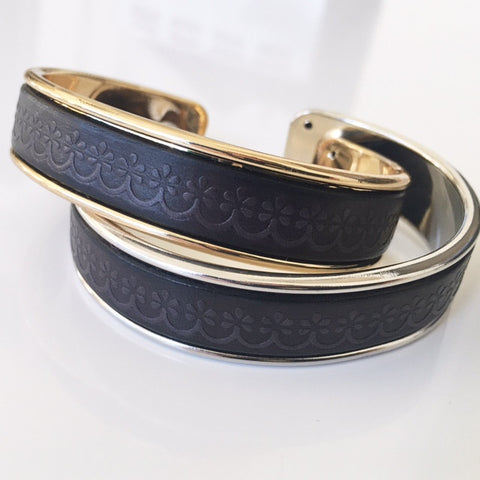 Black Textured Leather Cuff