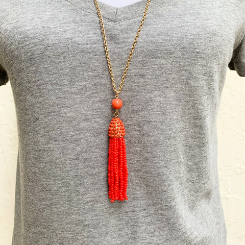 Redish Orange Beaded Tassel Necklace
