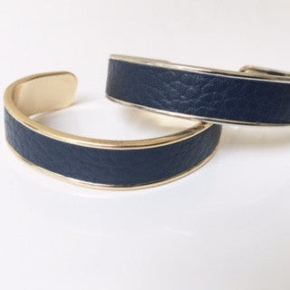 Navy Blue Textured Leather Cuff