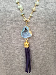 Blue Druzy/Navy Tassel/Turquoise Beaded Chain Necklace