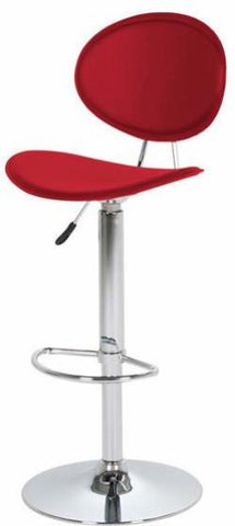 Swivel leather stool Red adjustable height Chrome base