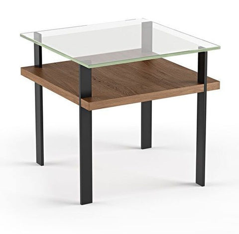 BDI Furniture Terrace End Table 1156 Polished Tempered Glass; Natural Walnut Black Powder Coat Legs