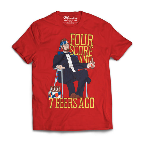 4 score and 7 beer ago shirt - red