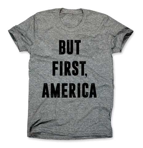 But First America Shirt Heather Gray