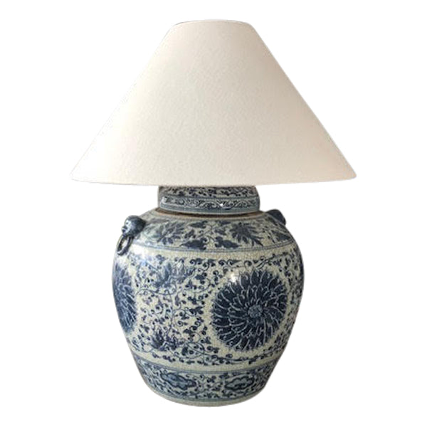Blue & White Sunflower Lamp