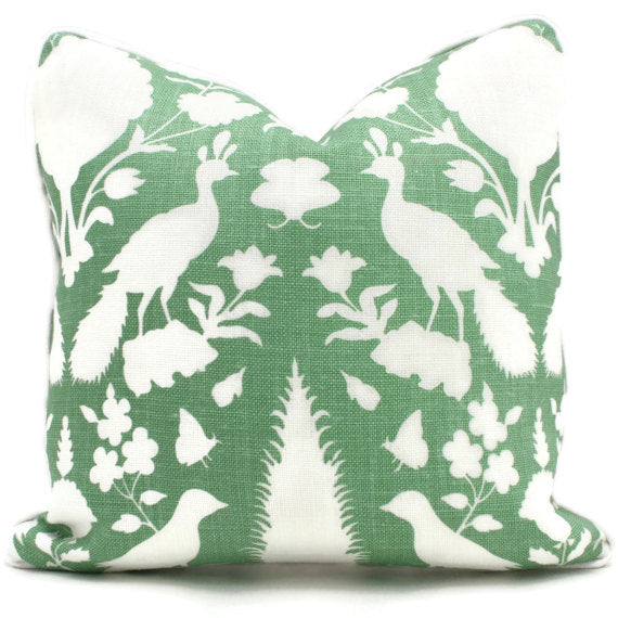 Schumacher Aloe Green Chenonceau Cushion