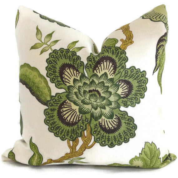 Schumacher Green Hothouse Flowers Cushion