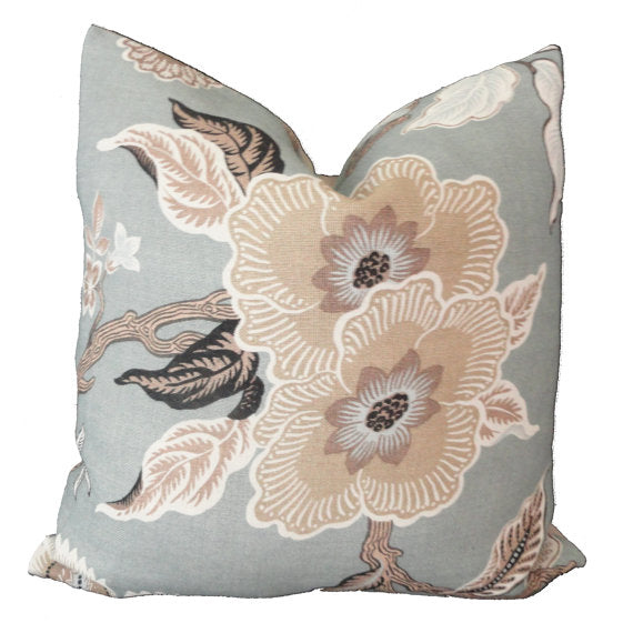 Schumacher Mineral Hot House Flowers Cushion