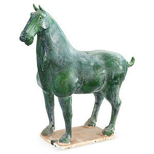 Green Ceramic Han Horse