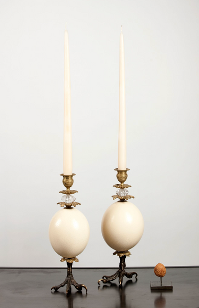 Klaus Dupont ostrich egg candle holder set