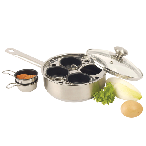 DEMEYERE RESTO 4-CUP STAINLESS STEEL EGG POACHER SET