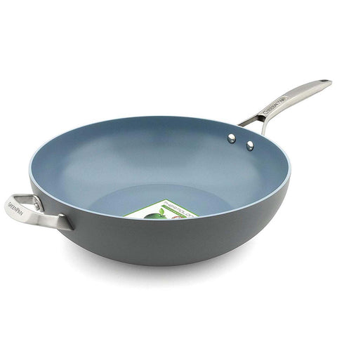 GREENPAN PARIS PRO 12.5'' OPEN WOK WITH HELPER HANDLE