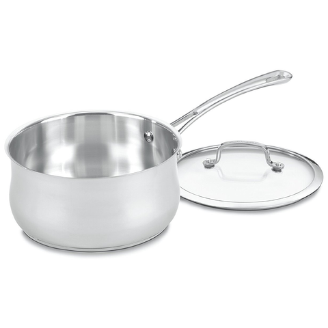 CUISINART CONTOUR STAINLESS 3-QUART SAUCEPAN WITH GLASS COVER
