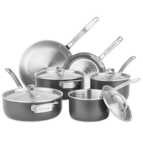 VIKING 5-PLY 10-PIECE HARD STAINLESS COOKWARE SET WITH HARD ANODIZED EXTERIOR
