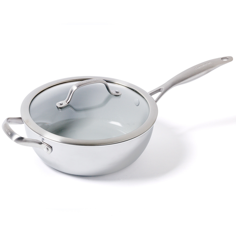 GREEN PAN VENICE PRO CERAMIC 3.5-QUART NON-STICK CHEF'S PAN WITH HELPER HANDLE
