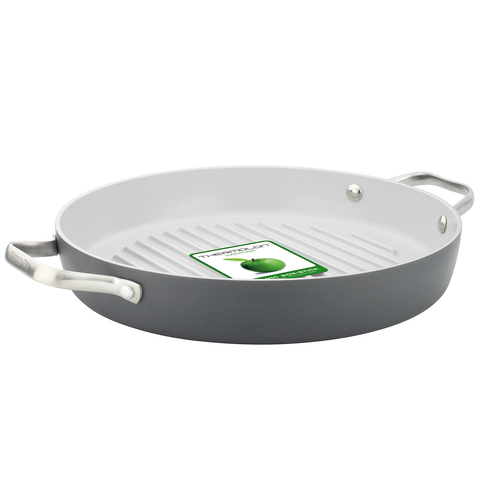 GREEN PAN PADOVA CERAMIC NON-STICK GRILLPAN - GREY