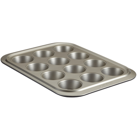 ANOLON 12-CUP MUFFIN PAN, PEWTER/ONYX