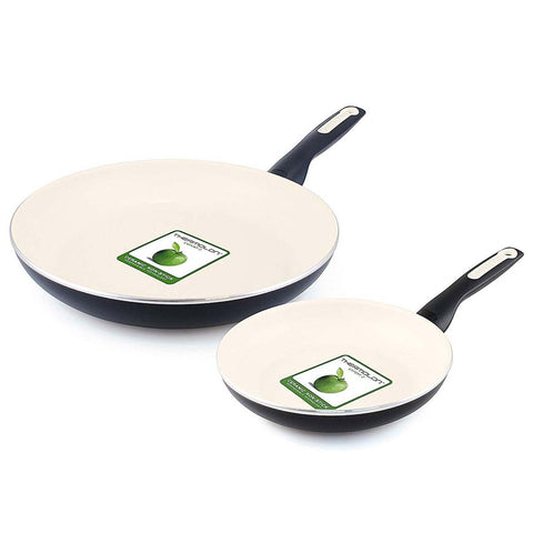 GREEN PAN RIO CERAMIC 8'' & 10'' NONSTICK FRYPAN SET - BLACK