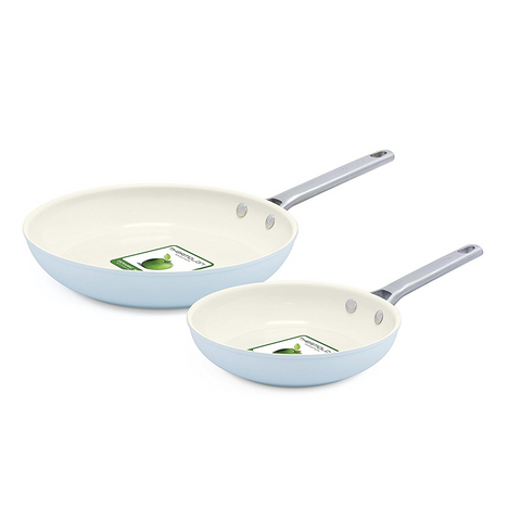 GREEN PAN PADOVA CERAMIC NON-STICK OPEN FRYPAN SET - LIGHT BLUE