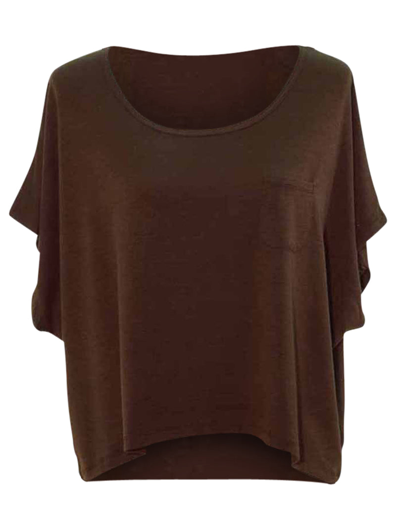 Short Sleeve Jersey Knit High Low Top