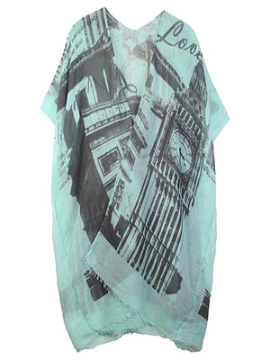 Mint Green Vintage Europe Print Lightweight Kimono Top