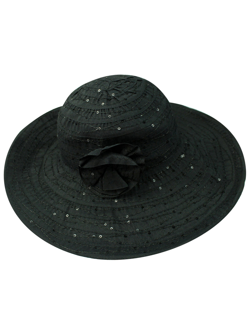Floppy Hat With Sequins And Flower Hat Band