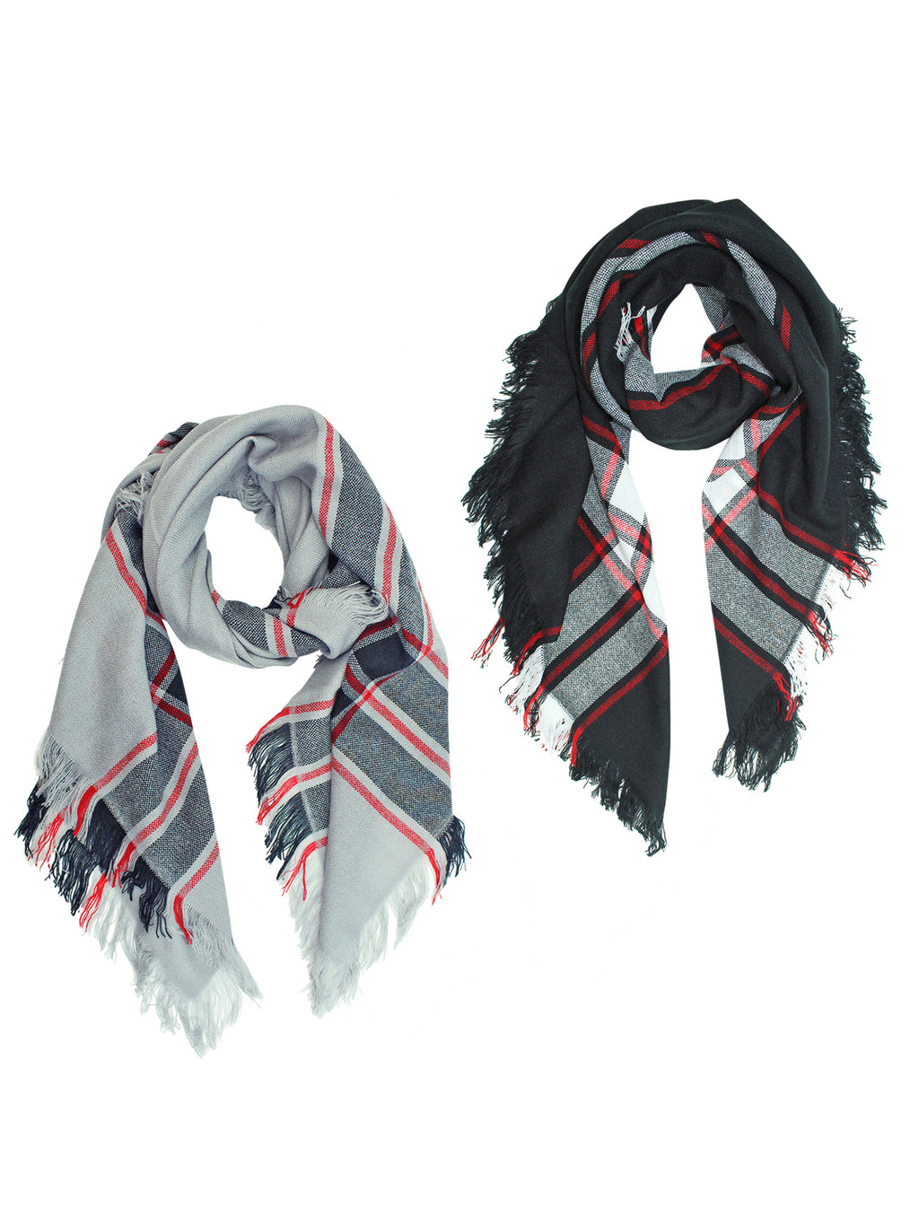 Gray White Wool Plaid Oversized Blanket Scarf 2 Pack Set