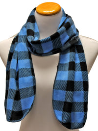 Blue & Black Plaid Fleece 3 Piece Hat Scarf & Glove Set