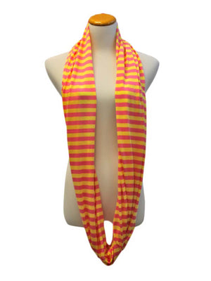 Lemon Yellow & Pink Striped Light Infinity Scarf